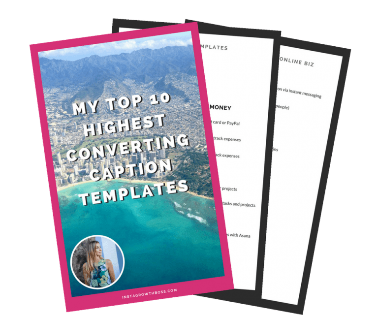 "Fanned out pages with the title ""My top 10 Highest Converting Caption Templates"""
