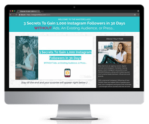 InstaGrowth Boss Masterclass webinar on a computer
