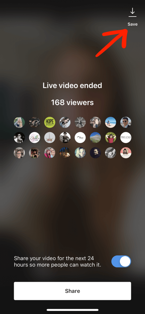 "Red arrow pointing to ""Save"" button after Instagram Live has ended"