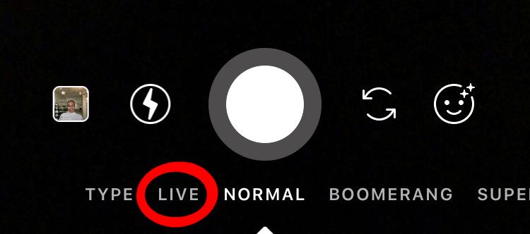 User Interface of Instagram Stories, with a red circle around the option to go Live.