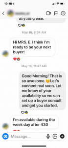 Instagram for Real Estate DM example