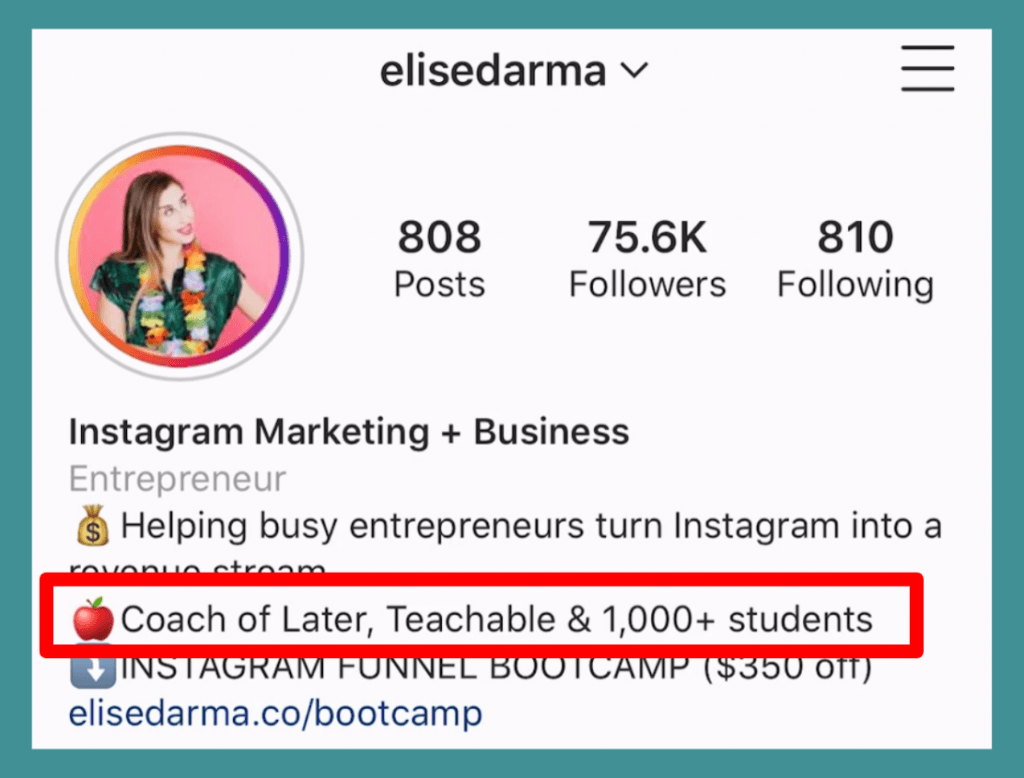 "Elise Darma Instagram bio: ""Coach of Later, Teachable & 1,000+ students"""