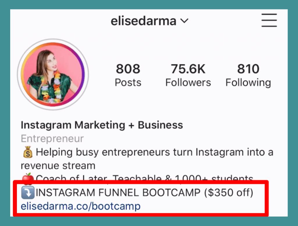 "Elise Darma's Instagram bio: ""INSTAGRAM FUNNEL BOOTCAMP ($350 off) elisedarma.co/bootcamp"""