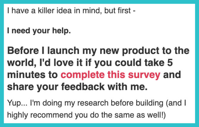 Sample of an email from Elise to her audience asking them to complete a market research survey