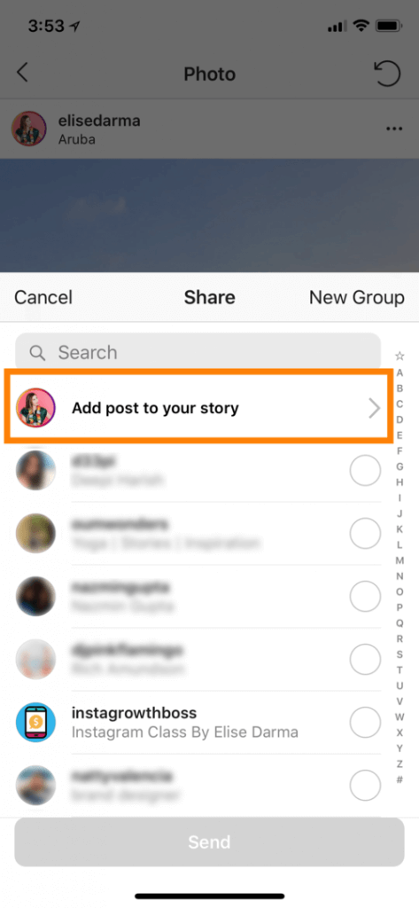how to add instagram post to your story