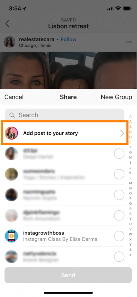 how to add post to story