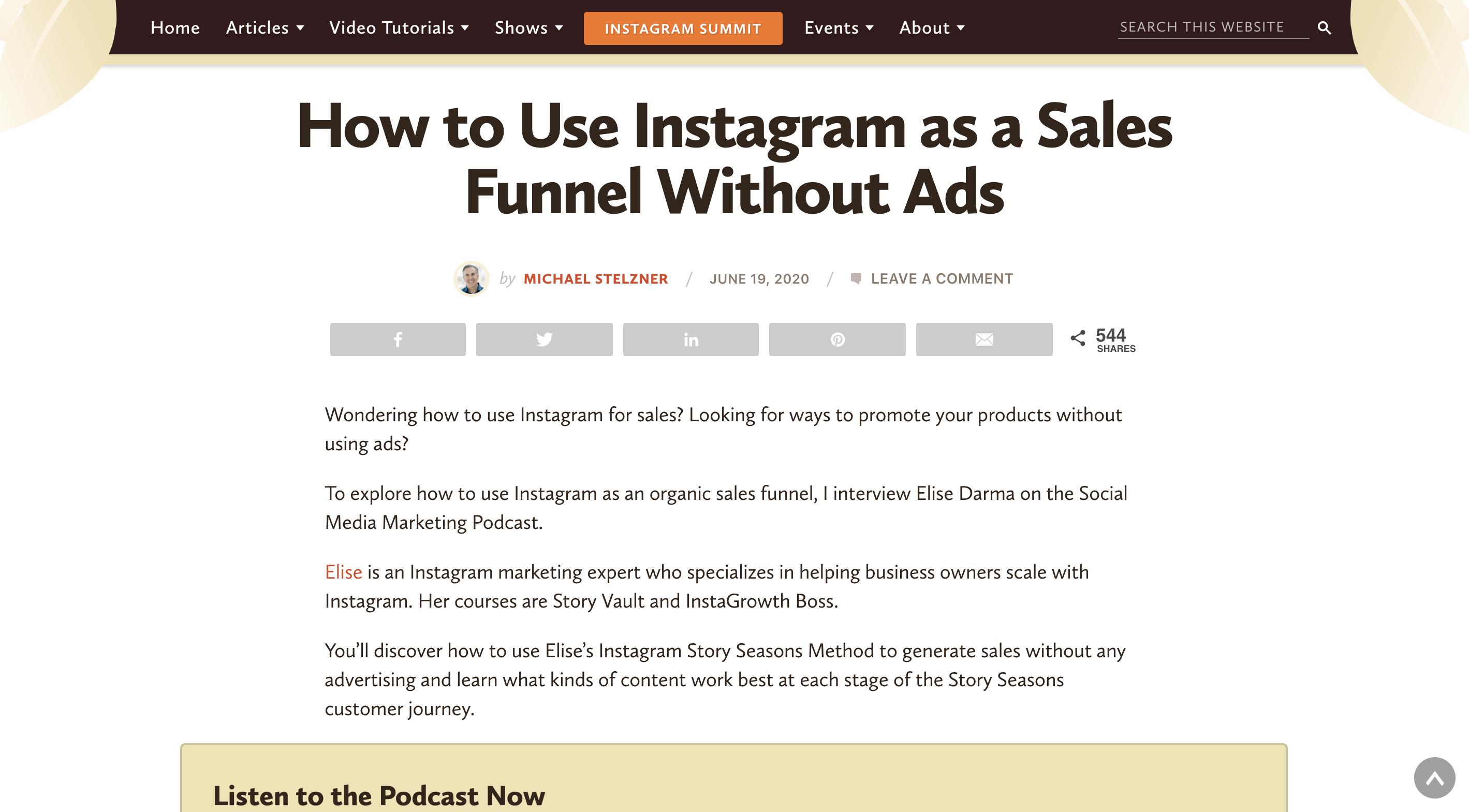 Social Media Examiner - How to Use Instagram as a Sales Funnel Without Ads - Elise Darma